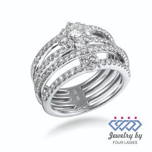 Natural Diamond PartyWear Cocktail Ring White Gold